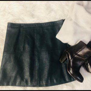 Green/dark teal vegan leather mini skirt
